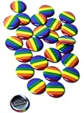 Wacky Buttons LGBT Pride Rainbow Pinback Buttons - 1 inch Size - 25 Pack