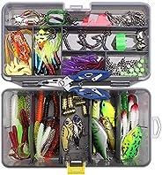 Zokbom Fishing Lures Set, 103 Pieces Fishing Soft Baits Kit Minnow Popper Crankbaits, Topwater Floating Fishin