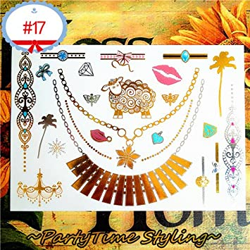 da76ab604 Zamic Store Metallic Temporary Tattoos - Metallic 3D Gold Choker Body  Makeup Temporary Tattoos Sticker Henna