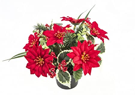 Artificial Poinsettia And Holly Grave Vase Insert Pot For Christmas