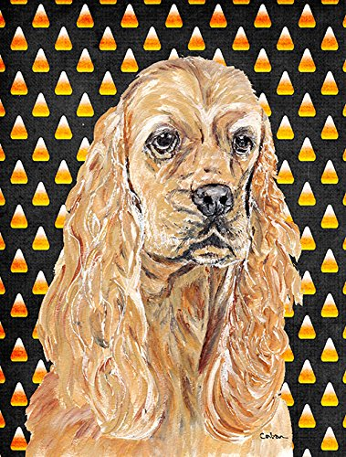 Caroline's Treasures SC9528CHF Cocker Spaniel Halloween Candy Corn Flag Canvas, Large, Multicolor