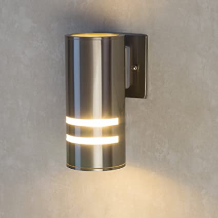 newest 00197 41150 Outdoor Porch Light,Naturous Modern Outdoor Lighting Wall Sconce Stainless  Steel 304 Brushed Nickel UL Listed, Suitable for Garden,Villa