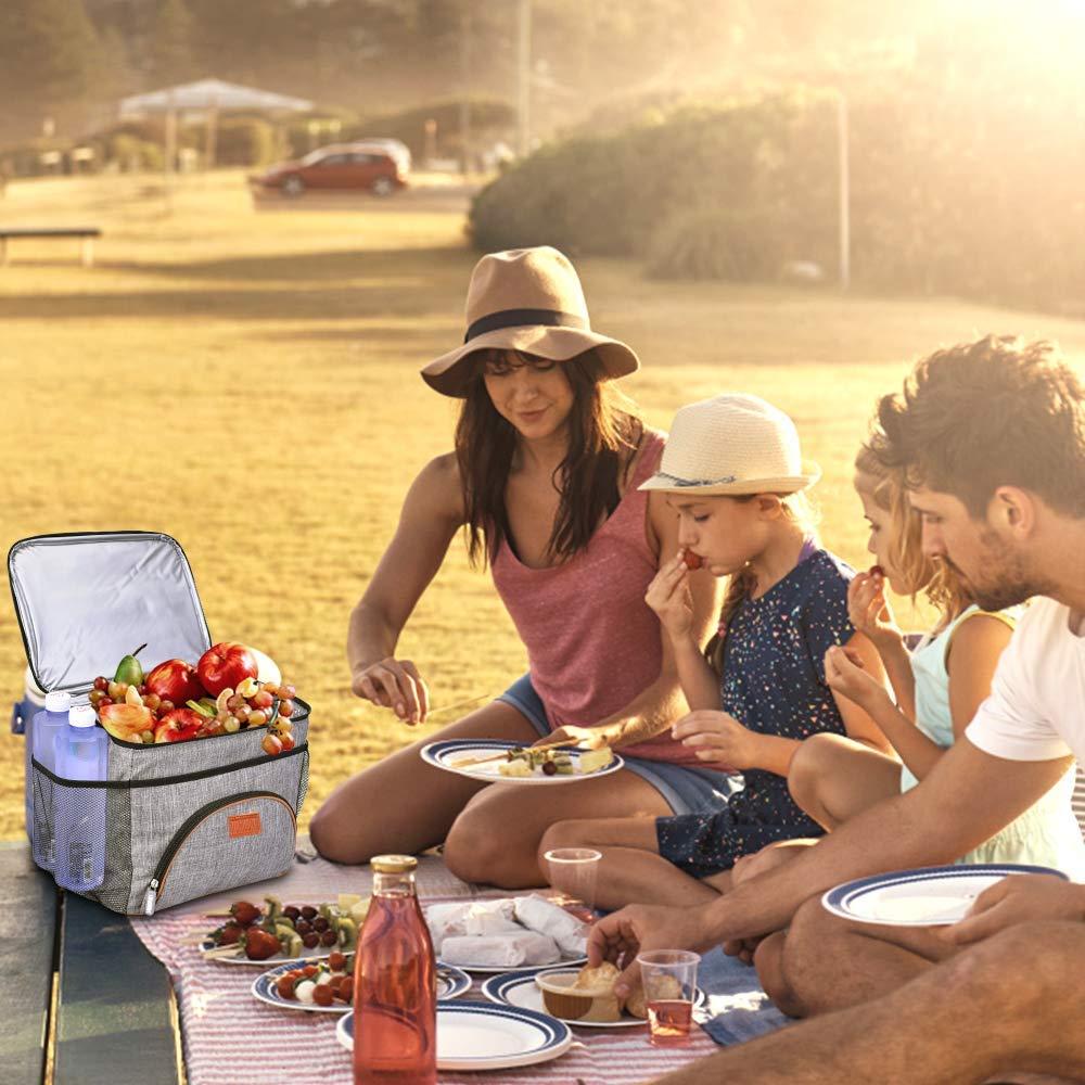 Gris TOMOUNT Sac Isotherme Repas Grand Capacit/é 16L Sac Glaci/ère /à D/éjeuner Portable pour B/éb/é Biberon Travail Pique-Nique Lunch Box
