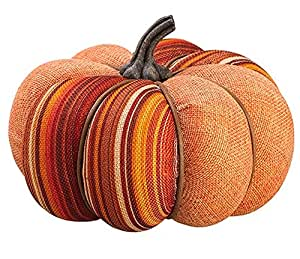 Allstate Orange Burlap Short Autumn Pumpkin with Stylish Stripes Decorative Thanksgiving Table Top Decor, 5""