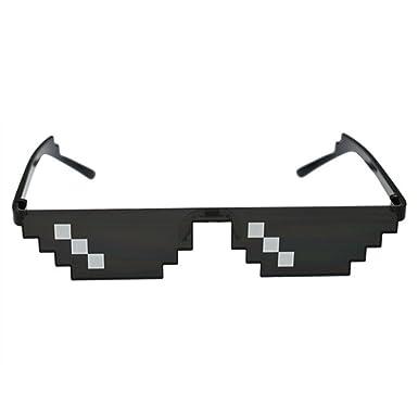 360b2fe77a5 Amazon.com  Glasses 8 Bit MLG Pixelated Sunglasses Men Women Thug Life  Party Eyeglasses Mosaic Vintage Eyewear C1  Clothing