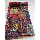 tribal asian textiles twin size handmade ajarak cotton block indigo print kantha quilt reversible throw sari - Twin Quilts