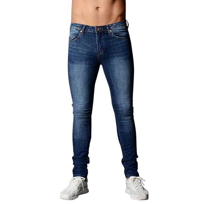 Manadlian_Hombres Pantalones Hombres Pantalones, mezclilla Ajuste elástico elástico Casual Pantalones largos y rectos…