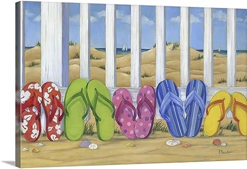 Flip Flop Beach Canvas Wall Art Print