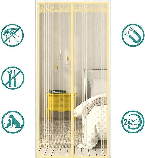 MeetBeauty Mosquitera Puerta Magnetica Corredera Cortina Mosquitera Magnética para Puertas Cortina de Salón de Estar la Puerta del Balcón Puertas, Beige, 90 x 240 cm: Amazon.es: Hogar
