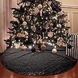 yuboo Black Christmas Tree Skirt, 48 Inch Sequin