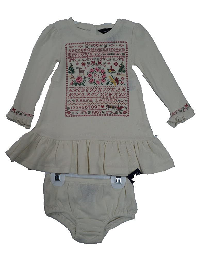Polo Ralph Lauren Sampler Ruffle Dress and Matching Panty Baby Girls 24 Mths