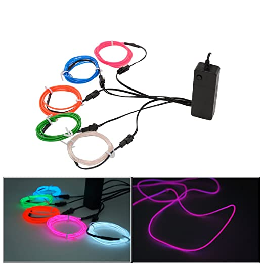 Xcellent Global 5x1M Neon EL Wire Lights Glowing Strobing Flashing ...