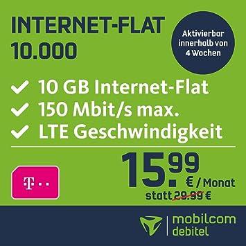 Sim Karte Internet.Mobilcom Debitel Internet Flat 10 000 Im Telekom Netz 15 99 Eur Monatlich 24 Monate Laufzeit 10 Gb Internet Flat Lte Mit Max 150 Mbit S