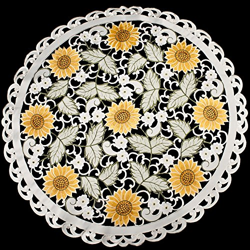 Linens, Art and Things Embroidered Table Topper Doily Table Centerpiece Small Tablecloth Open Weave Cut Work Sunflower and White Daisy on Ivory 36