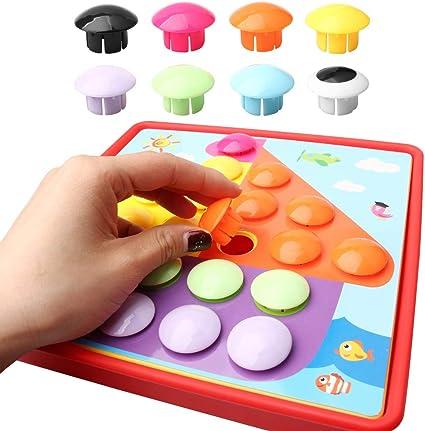 THETAG Jeux de Mosaïques, Yuanzi Fansteck Loisirs Créatif Puzzle Valise de Clous Mosaïque en différents Motifs avec Boutons Colorés pour Enfants