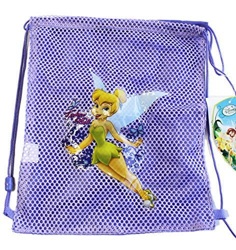 Disney Fairy Handbag (Disney Fairies Tinker Bell Half Mesh Lavender Colored Drawstring Backpack)