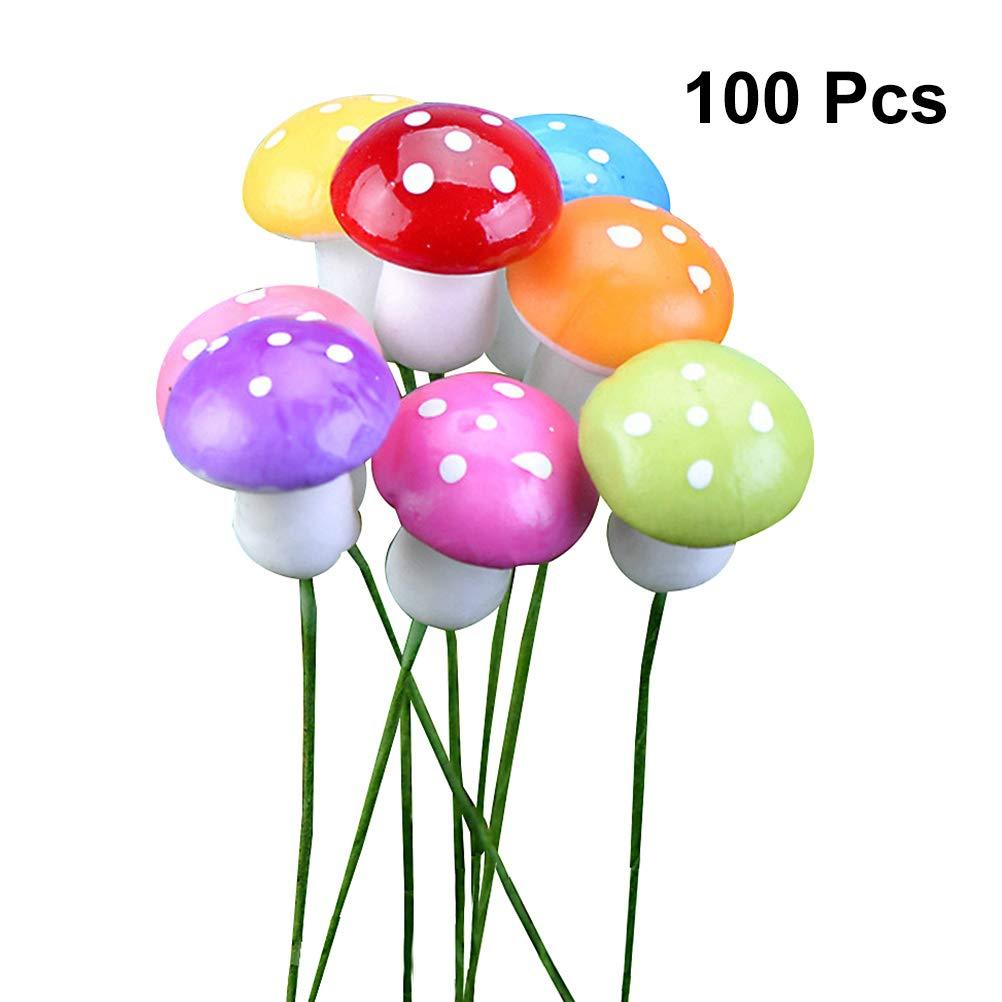 8 Colores Mezclados SUPVOX 100 Piezas de Setas Miniaturas Bonsai Figuras Paisaje Decoraci/ón Artificial Bonsai