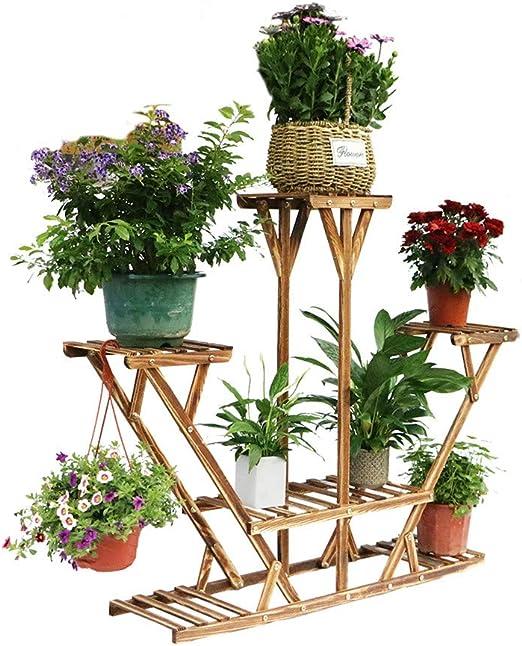 UNHO - Soporte de madera para 6 macetas, soporte para plantas y macetas, para jardín interior y exterior: Amazon.es: Hogar