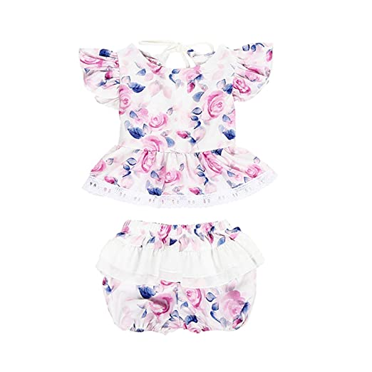 b0e49f11f6390 Amazon.com: New 2PCS Set Cute Newborn Baby Girl Clothing Set Ruffles ...