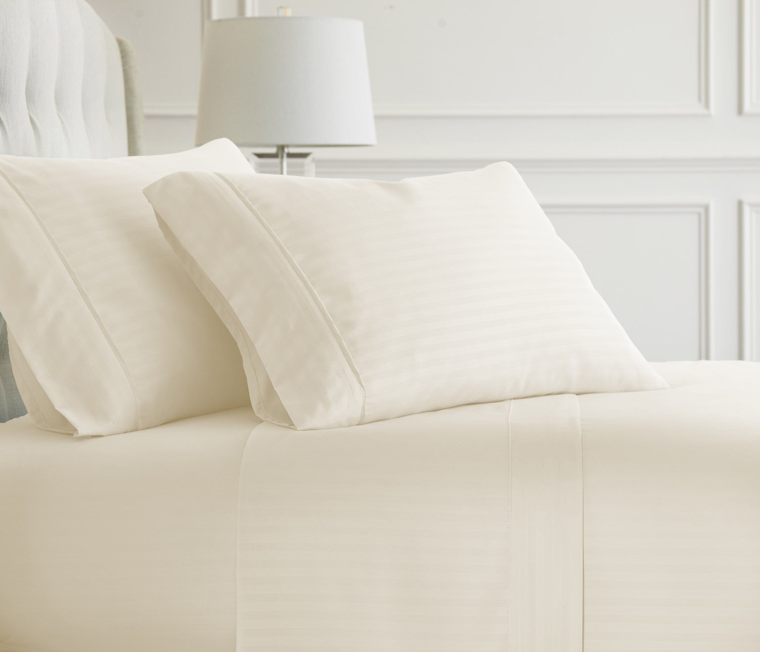 Soft Essentials Premium Embossed Striped Design 4 Piece Bed Sheet Set (California King - Ivory)(Pack of 12)