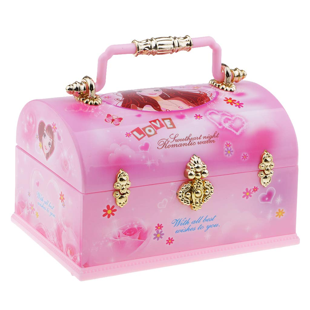MagiDeal Wind Up Music Box Doll Rotate Jewelry Storage Case Chest w/Mirror for Woman