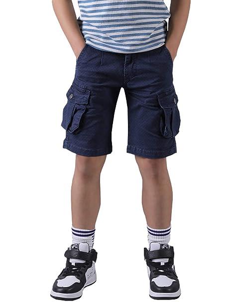 WIYOSHY Boys Cargo Shorts Adjustable Waist Multi Pocket Outdoor Denim Shorts