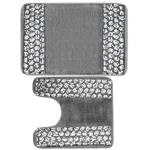 Sweet Home Collection Bathroom Mat 2 Piece Bath Contour Toilet Rug Set, Sinatra Silver,