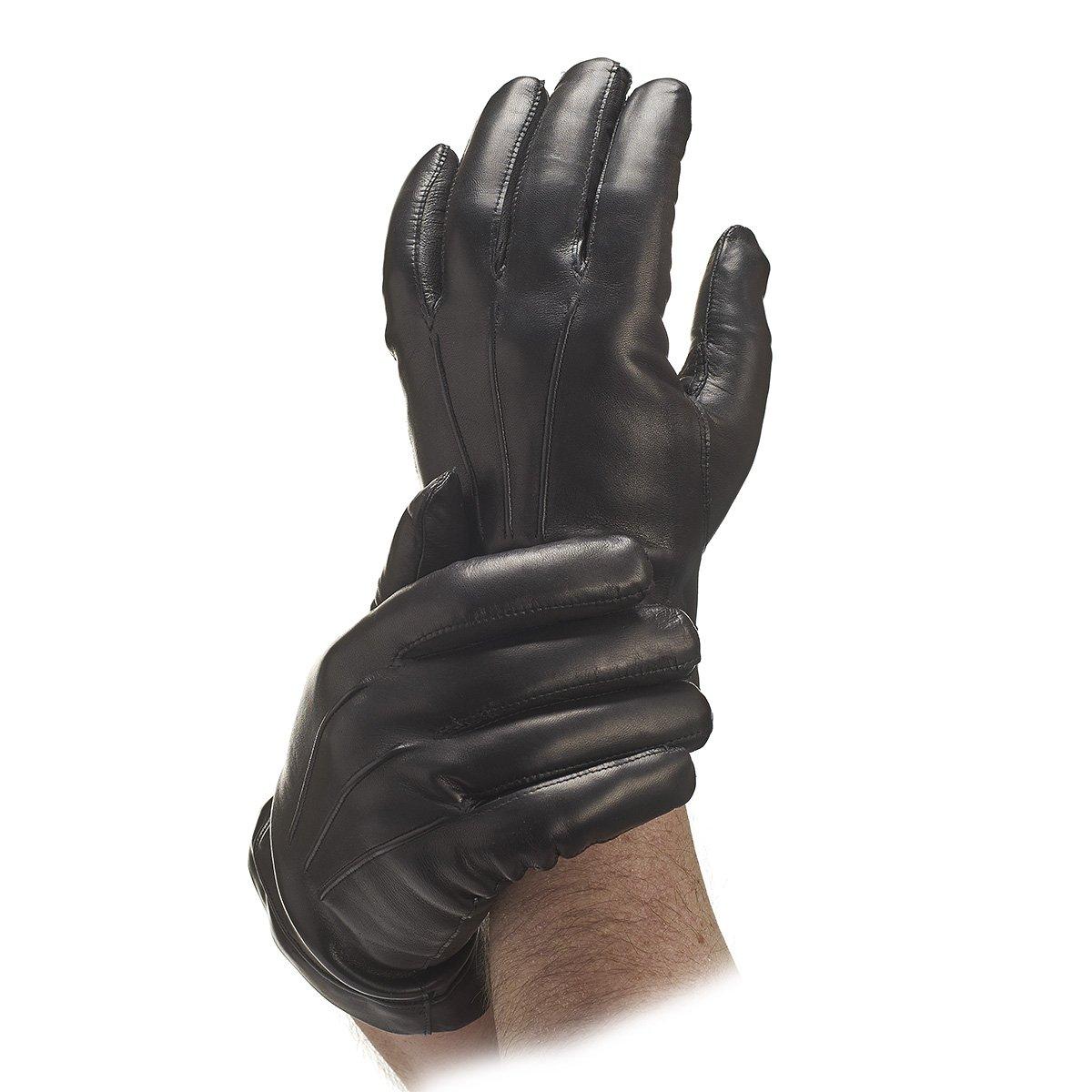 Men's Italian Cashmere Lined Kidskin Gloves (Small, Black)