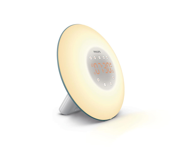 Philips Wake-up Light HF3507/20 - Despertador de luz led, radio FM, simulación del amanecer y del atardecer, 2 sonidos naturales, 1 alarma, 200 Lux, ...