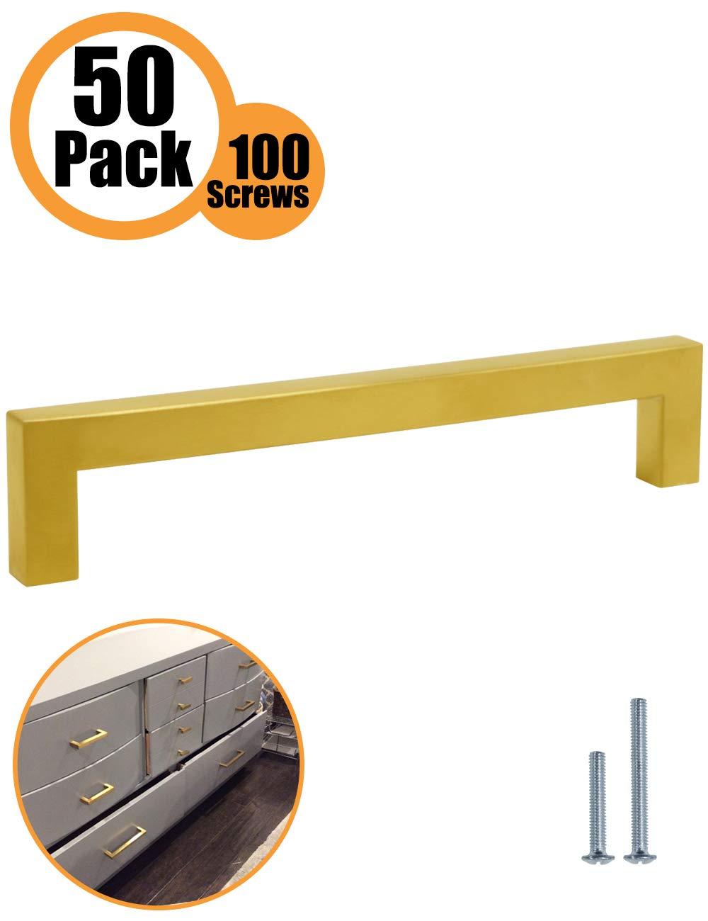 Tiradores para puerta de armario de cocina 12 mm de ancho color dorado PinLin Hole Centre 160mm acero inoxidable acero inoxidable 5 Pack