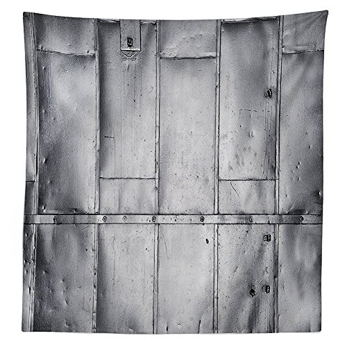 vipsung Industrial Tablecloth Decor Metal Steel Panels Industrial Wall Aluminum Background Futuristic Engineering Print Dining Room Kitchen Rectangular Table Cover Silver