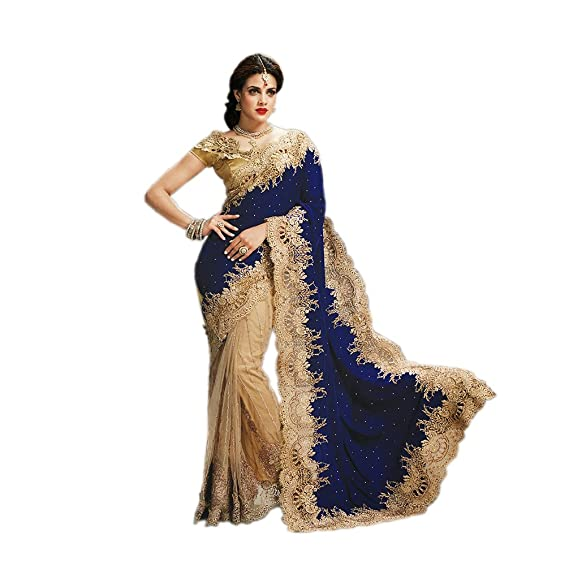 9af37037a2d2 Rehsha Women Indian Bridal Heavy Work Navy Blue Saree Pakistani Wedding Net  & Velvet Pallu Sari: Amazon.co.uk: Clothing