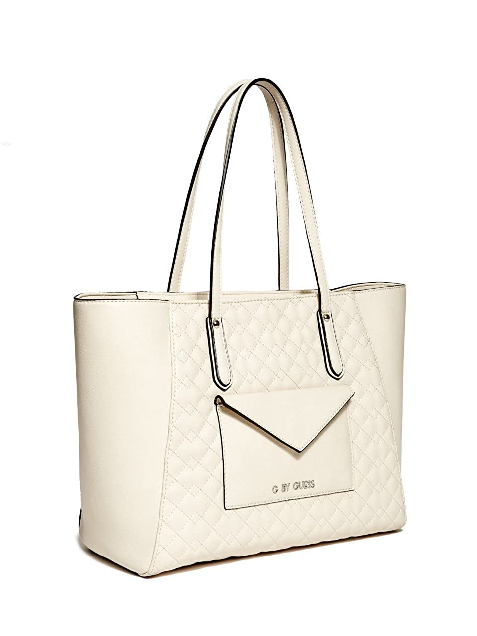 G by GUESS Womens Fairwood Quilted Tote Ivory