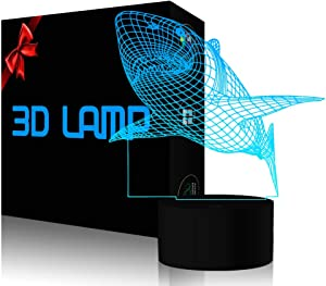 3D Shark LED Night Light YKL WORLD Touch Switch Illusion Table Lamp 7 Color Changing USB Powered for Home Bed Room Bar Party Festival Decor Kids Birthday Creative Gifts Toys