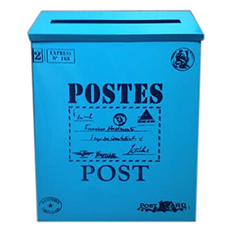 Carta Buzón de correos montado en la pared impermeable buzón con cerradura caja (, azul