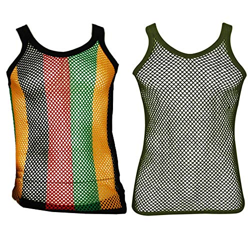 (UD Accessories Mens Fitted String Mesh Vest Muscle Fishnet Cotton Rasta Black Red Green Yellow (Large, 2 Pack (1 Rasta Stripes, 1 Dark Olive)) )