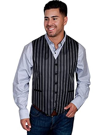 Pockets Welt Vest Scully Mens Rw169nxt Pinstripe Quality Black 4xt dCxorBWe