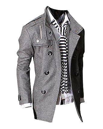 Homme Classique Manteau Long de en Laine Veste Jacket Blouson Hiver   Amazon.fr  Vêtements et accessoires 2ba2cb607d5e