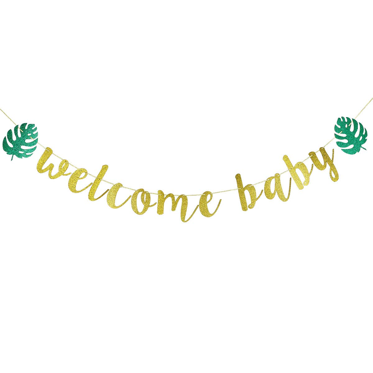 Gold Glittery Welcome Baby Banner Baby Shower Party Decoration Supplies