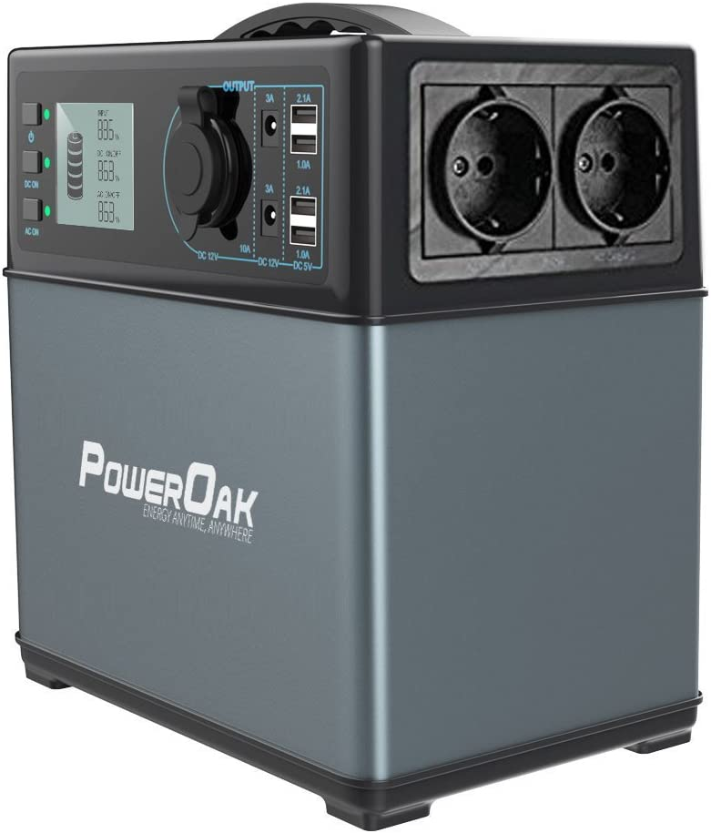 PowerOak PS5 - Generador solar (400 Wh, 120.000 mAh, CA/CC, 300 W, 230 V)