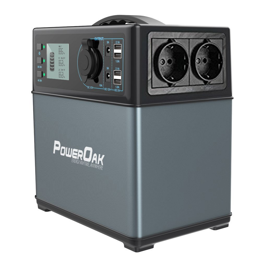 PowerOak 400wh Portable Solar Generator Ac Power Supply Energy Storage(Ultra Lightweight 5,6kg,Built-in Samsung Li-ion Battery,Charge From Ac Outlet,solar Charger,12v Dc Car Charger)Power Station [Energieklasse A+++] [Clase de eficiencia energética A+++]