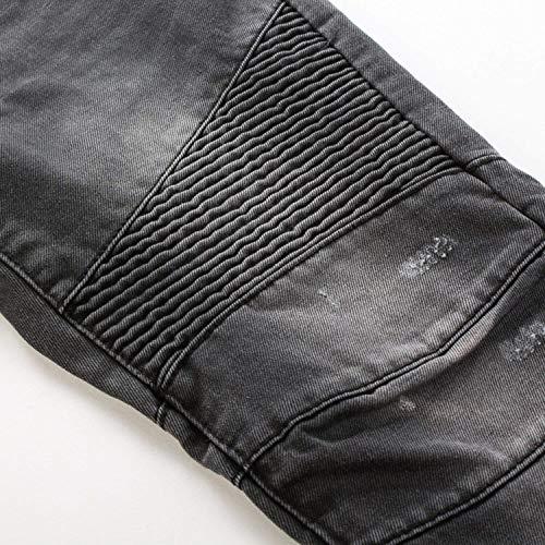 Motorista Clásicos Hombres Delgados Ajuste Vaqueros Ideal Tamaños del Los Desgastado Estilo Denim Hombres Elástico Mirada Cómodos Ropa Grau Pantalones SOtqpawd