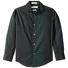 Calvin Klein Big Boys' Long Sleeve Polka Dot Button Down Woven Shirt