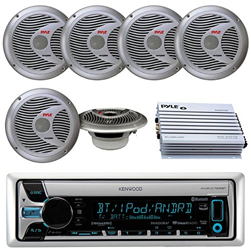 Kenwood KMR-D765BT Bluetooth CD MP3 USB AUX AM/FM Marine Boat Stereo Receiver 6x 6.5 Dual Cone Marine Speakers 4 Ch Waterproof 400 Watt Amplifier by Kenwood Pyle