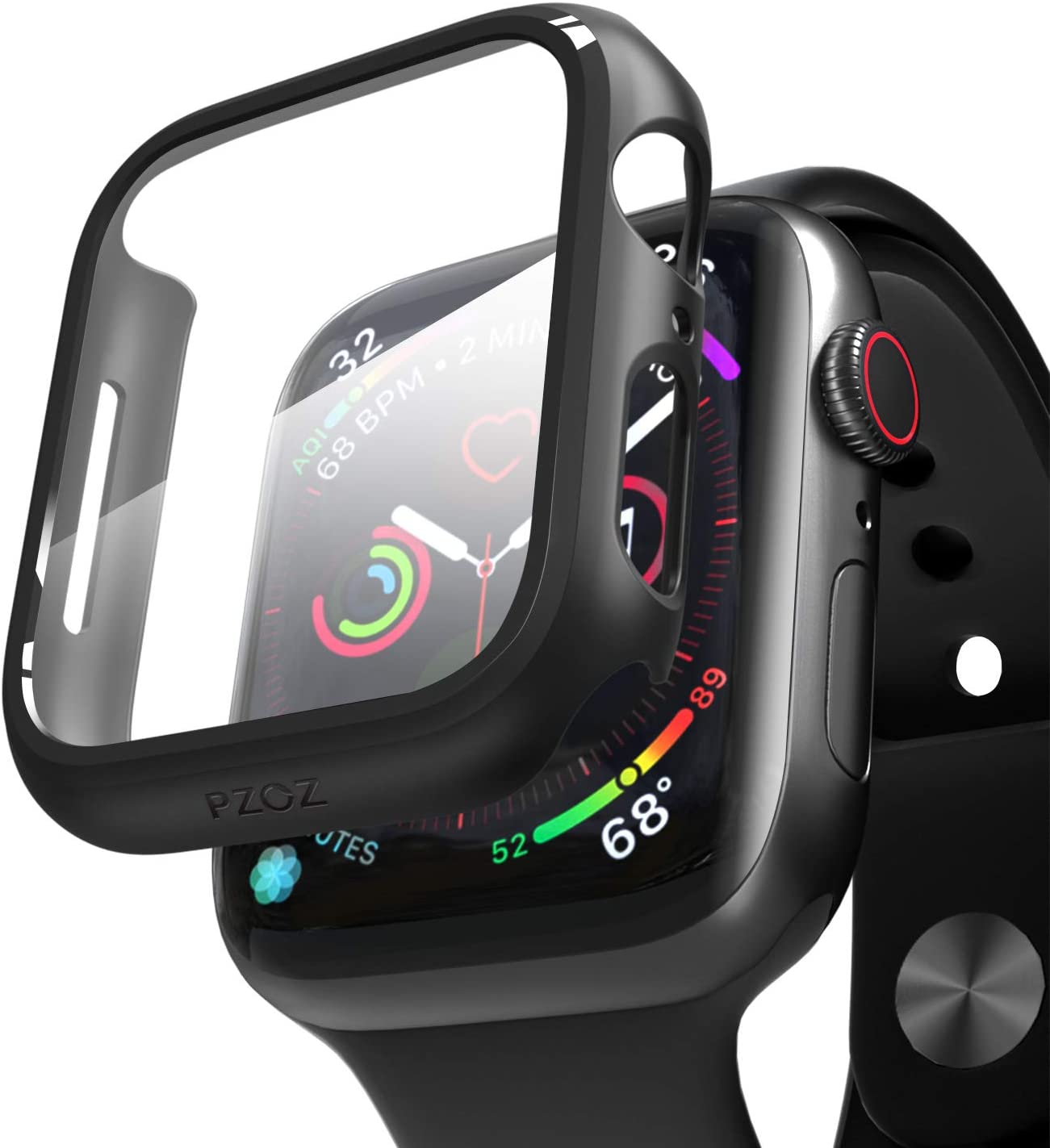 pzoz Compatible Apple Watch Series 6/5 /4 /SE 40mm Case with Screen Protector Accessories Slim Guard Thin Bumper Full Coverage Matte Hard Cover Defense Edge for Women Men New Gen GPS iWatch (Black)