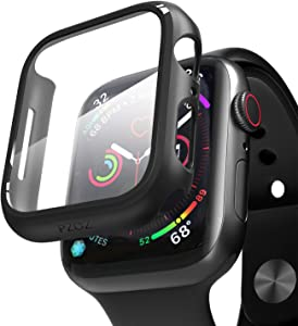 pzoz Compatible Apple Watch Series 5 / Series 4 Case with Screen Protector 44mm Accessories Slim Guard Thin Bumper Full Coverage Matte Hard Cover Defense Edge for Women Men New Gen GPS iWatch (Black)