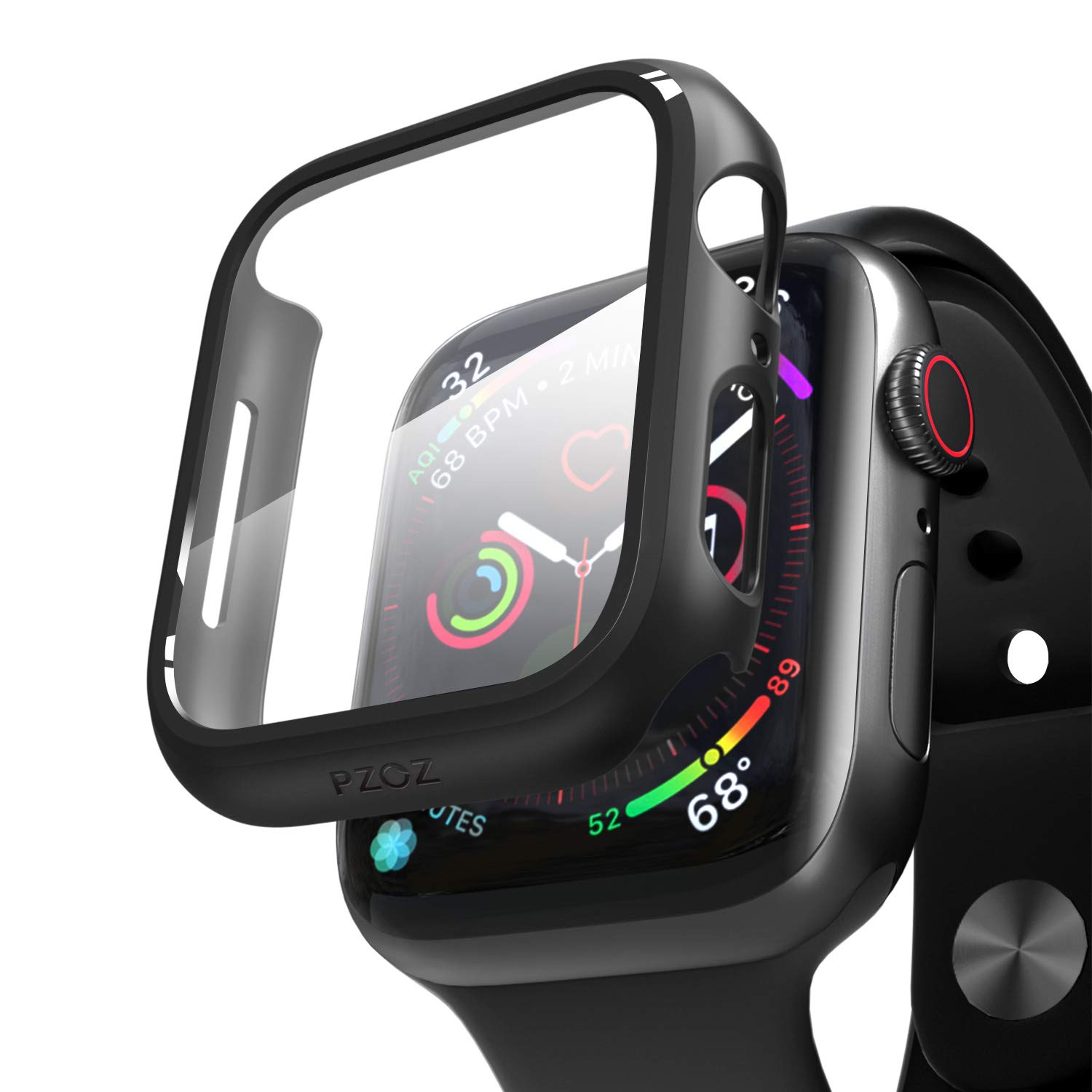 pzoz Compatible Apple Watch Series 5 / Series 4 Case with Screen Protector 40mm Accessories Slim Guard Thin Bumper Full Coverage Matte Hard Cover Defense Edge for Women Men New Gen GPS iWatch (Black) by pzoz