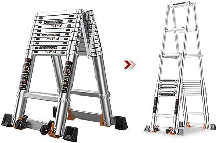 AFDK Escalera telescópica con marco en A Paso ancho profesional, pasos de servicio pesado para múltiples propósitos con ruedas,3.8m / altura vertical 3.67m: Amazon.es: Bricolaje y herramientas