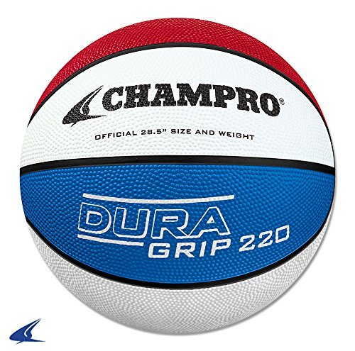 CHAMPRO Rubber Basketball, Scarlet/White/Royal, Size 28.5 ()