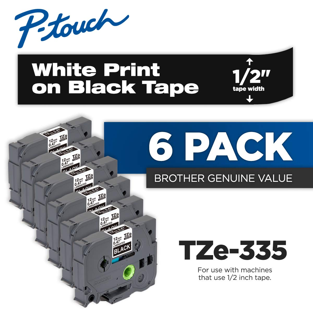 Brother Genuine P-Touch 6-Pack TZe-335 Laminated Tape, White Print on Black Standard Adhesive Laminated Tape for P-Touch Label Makers, Each Roll is 0.47''/12mm (~ 1/2'') Wide, 26.2 ft. (8M) Long